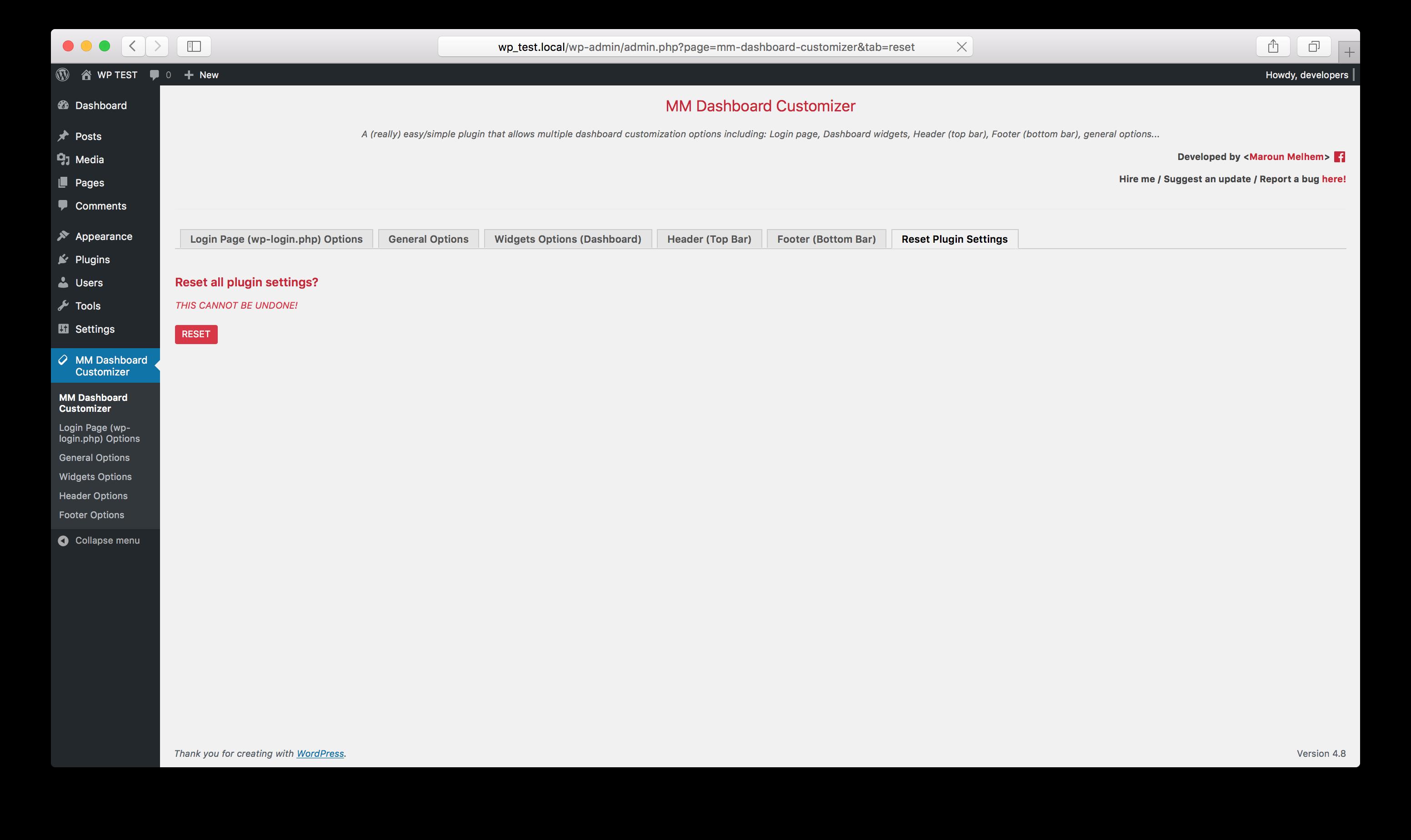 Plugin reset settings options