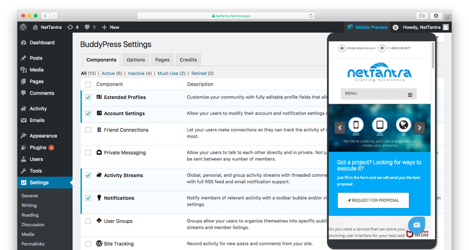 Screenshot for show Mobile Preview Drawer menu to WordPress Admin Header bar and Mobile preview screen.