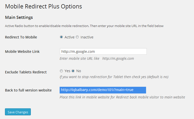 Mobile Redirect Plus Lite Options