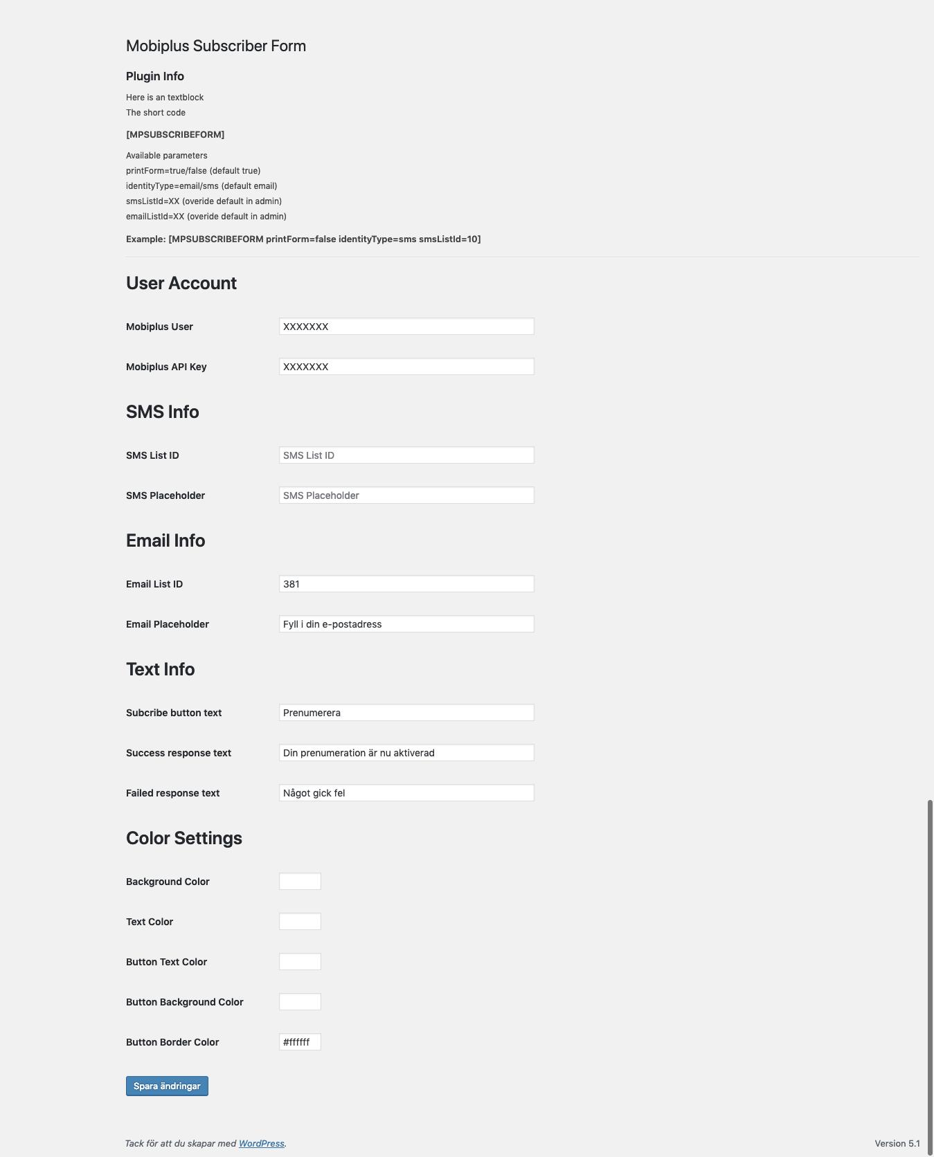 Admin page - Settings
