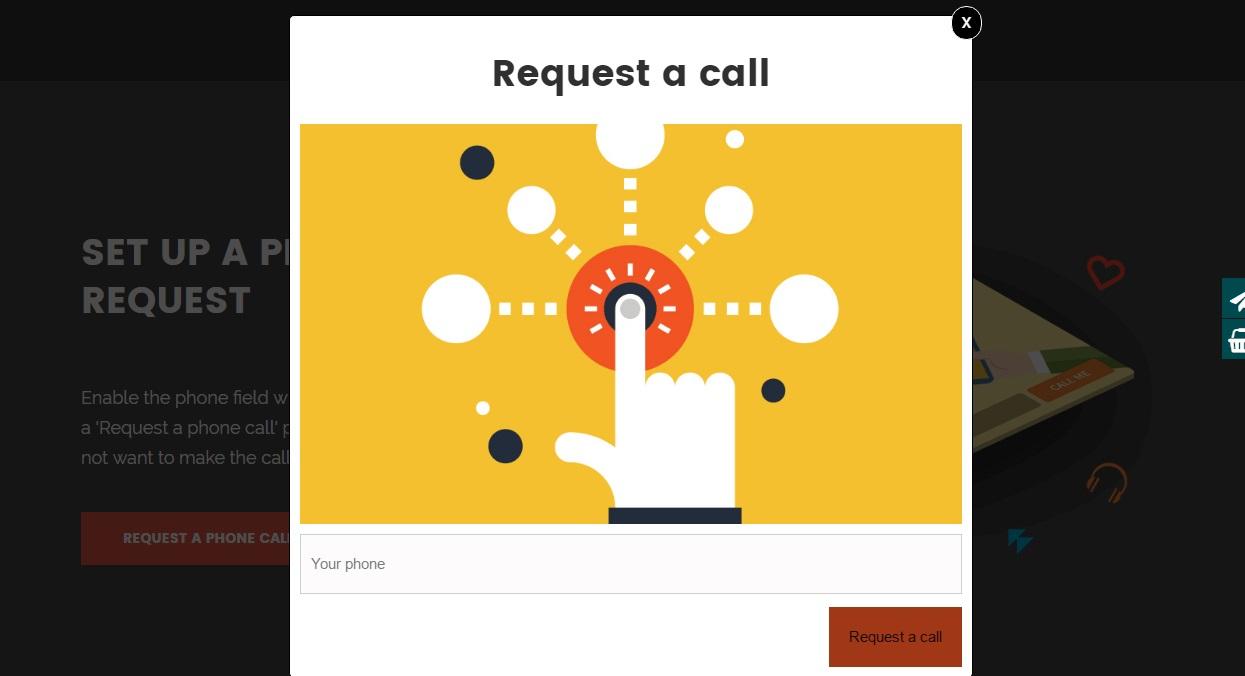 Create a phone call request widget