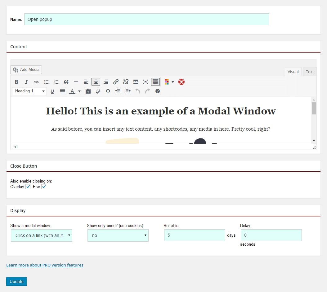 Modal window setup example