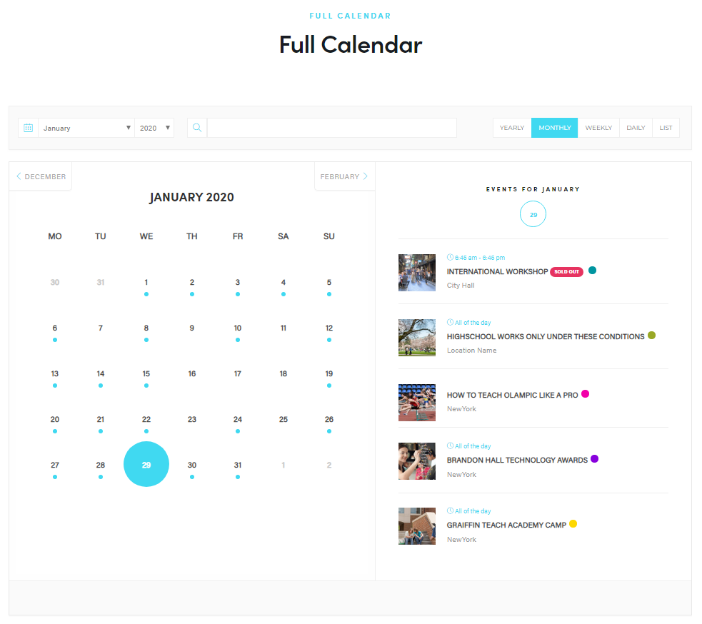 WordPress Event Calendar - Full Calendar view