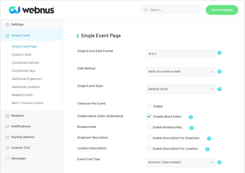 WordPress Event Calendar - Settings 05