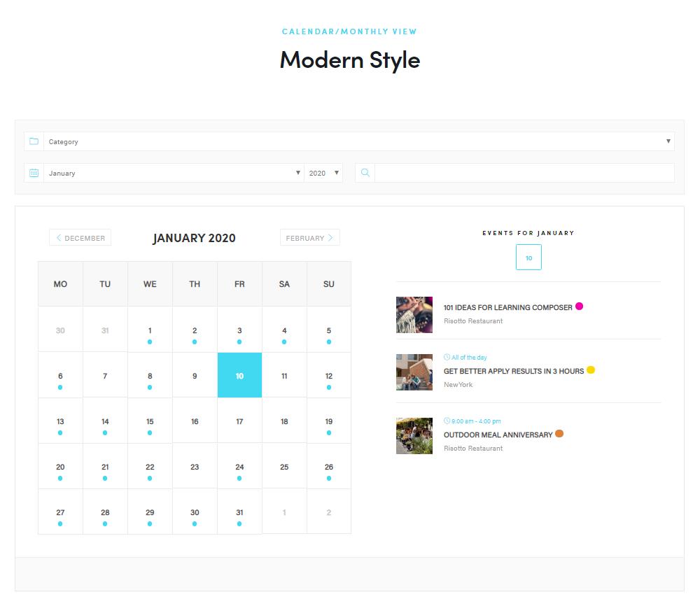 WordPress Event Calendar - Monthly view