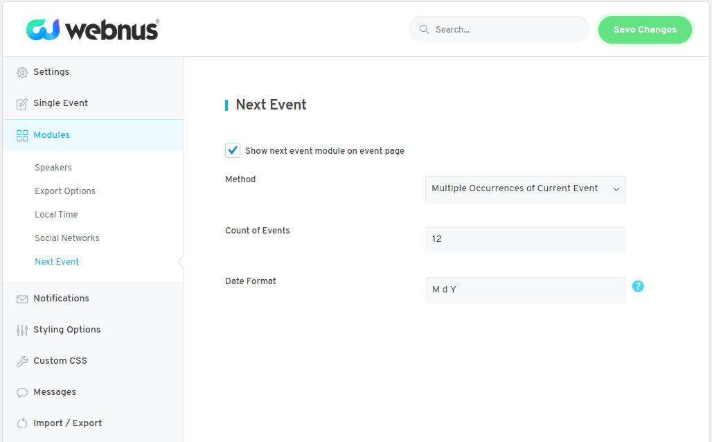 WordPress Event Calendar - Settings 06
