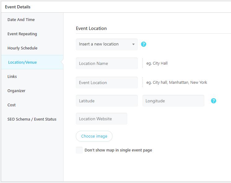 WordPress Event Calendar - Shortcode edit page
