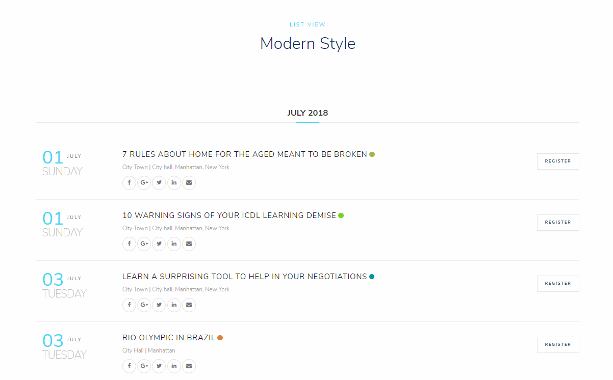 WordPress Event Calendar - Weekly view