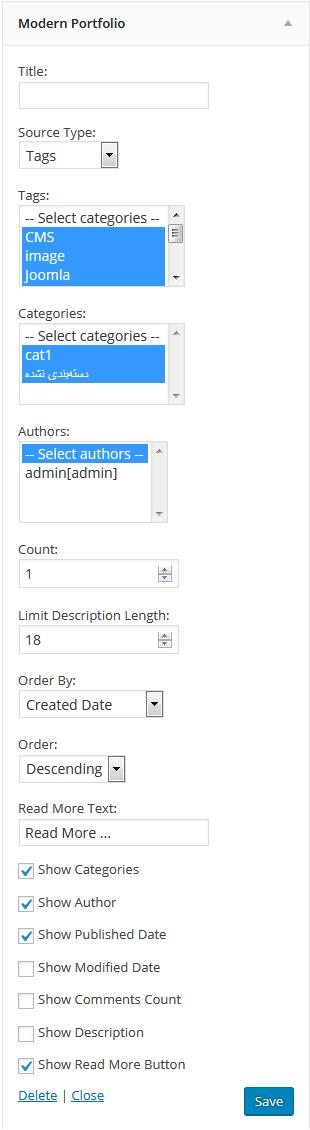 Settings of the widget in admin panel.