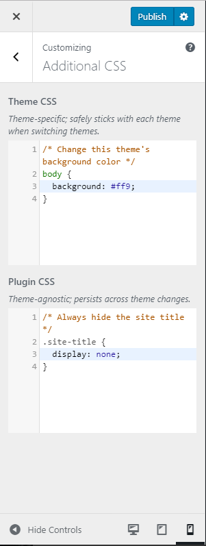 Additional CSS Section in the Customizer in WordPress 4.9.