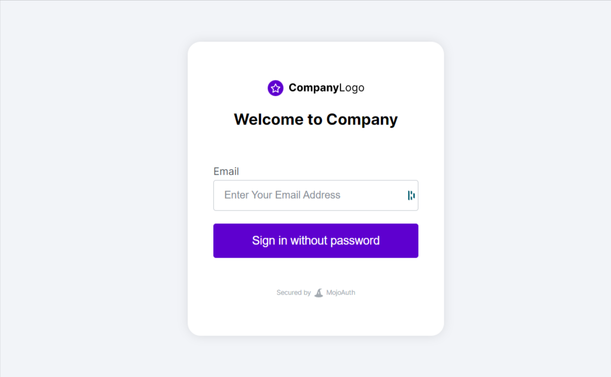 <strong>MojoAuth Login UI</strong>: This is an example presentation MojoAuth Login UI.