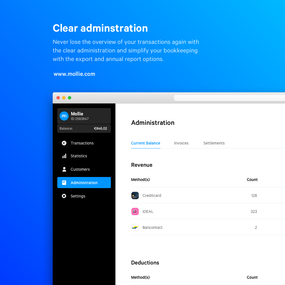 Also in Mollie Dashboard, get your administration done quick. You'll have a detailed overview of your current balance.