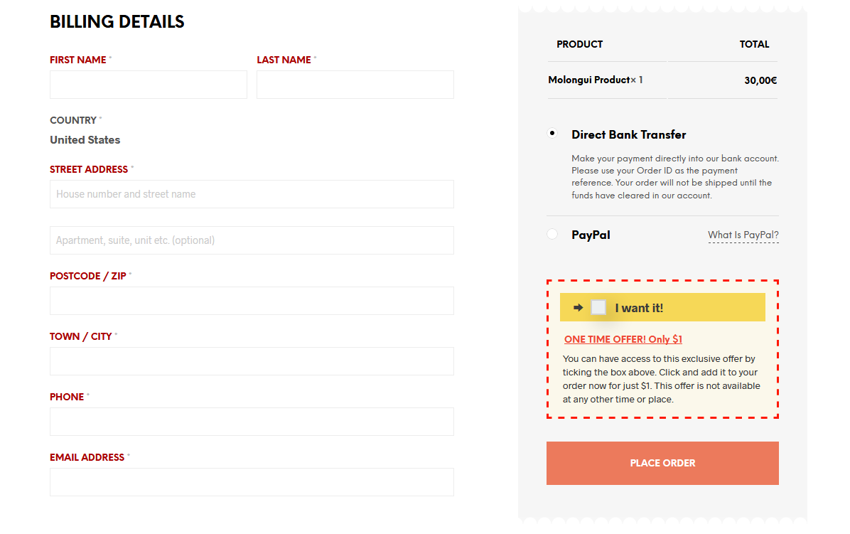 Sample checkout page with bump offer.