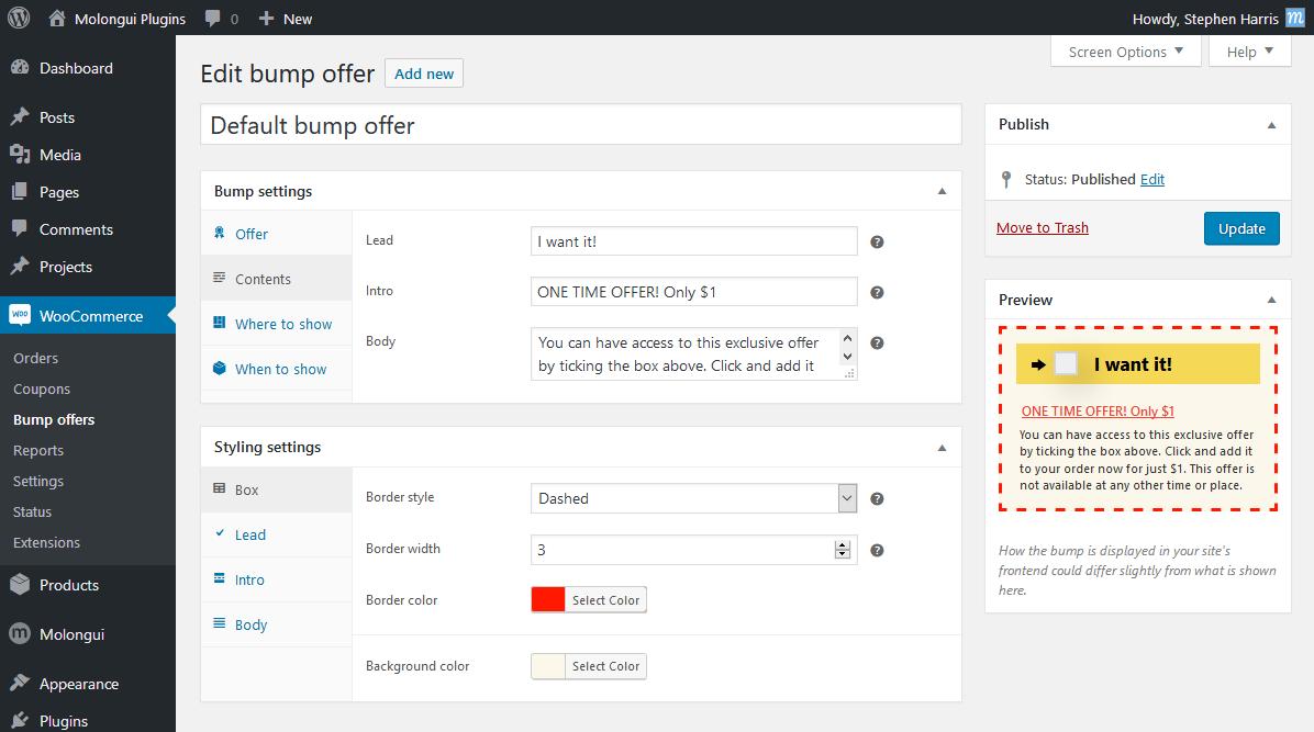 Bump offer edit screen.
