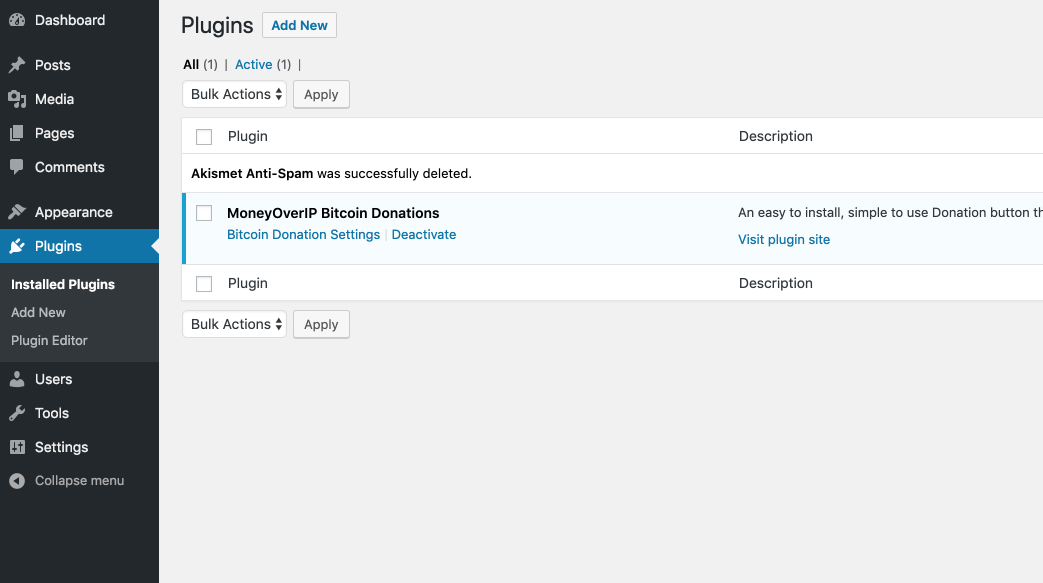 Install the MoneyOverIP Bitcoin Donations plugin.