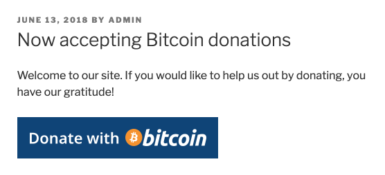 Visit your website and try out bitcoin donations!