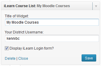 Here is the widget settings the end user will see.  The can add a title to the widget and add the Moodle User Account that they want to display courses for.