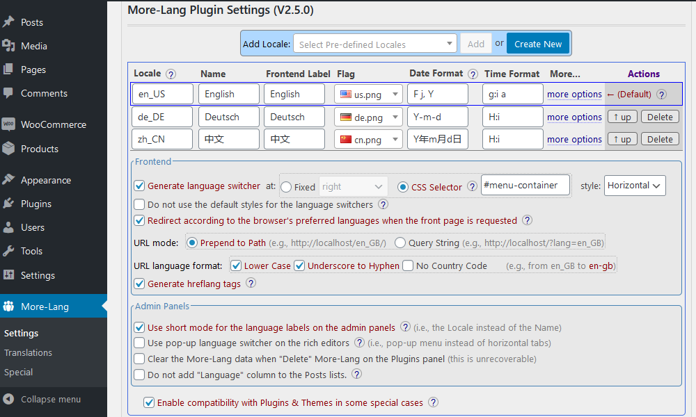 "The configuration page. Three languages are configured here(""English"" & ""Deutsch"" & ""中文"", ""English"" is the default). You can add more languages from the ""Add Locale"" section. You can get help by hovering on the ""?"" icon."