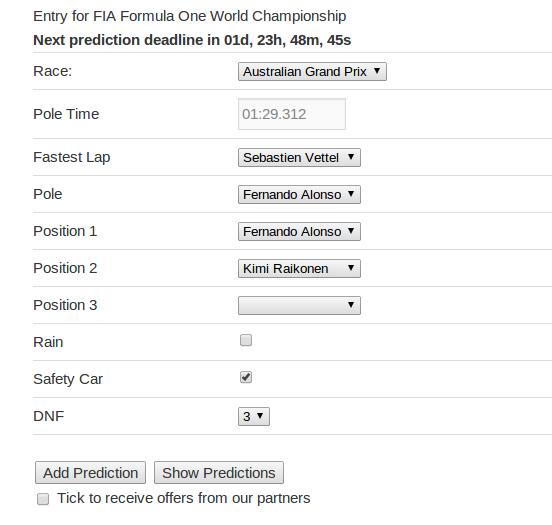 Prediction entry form