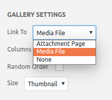 Select Media File at Link to when creating a gallery.