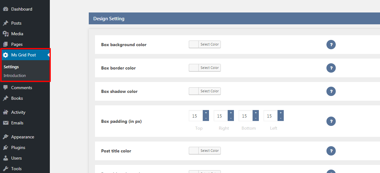 Design and slider setting screen in plugin.