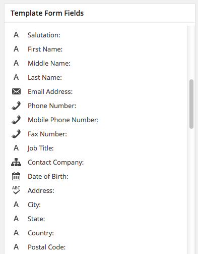 List of available form fields from Marketo