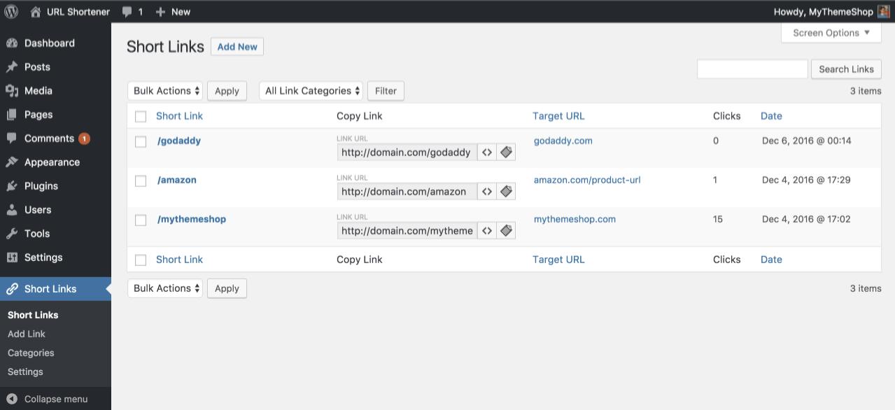 外部サービスなしで短縮URLを作成・管理できるプラグイン「URL Shortener by MyThemeShop」