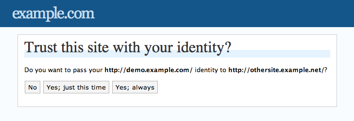 The screen asking a user if they wish to pass their identity to a third party site.