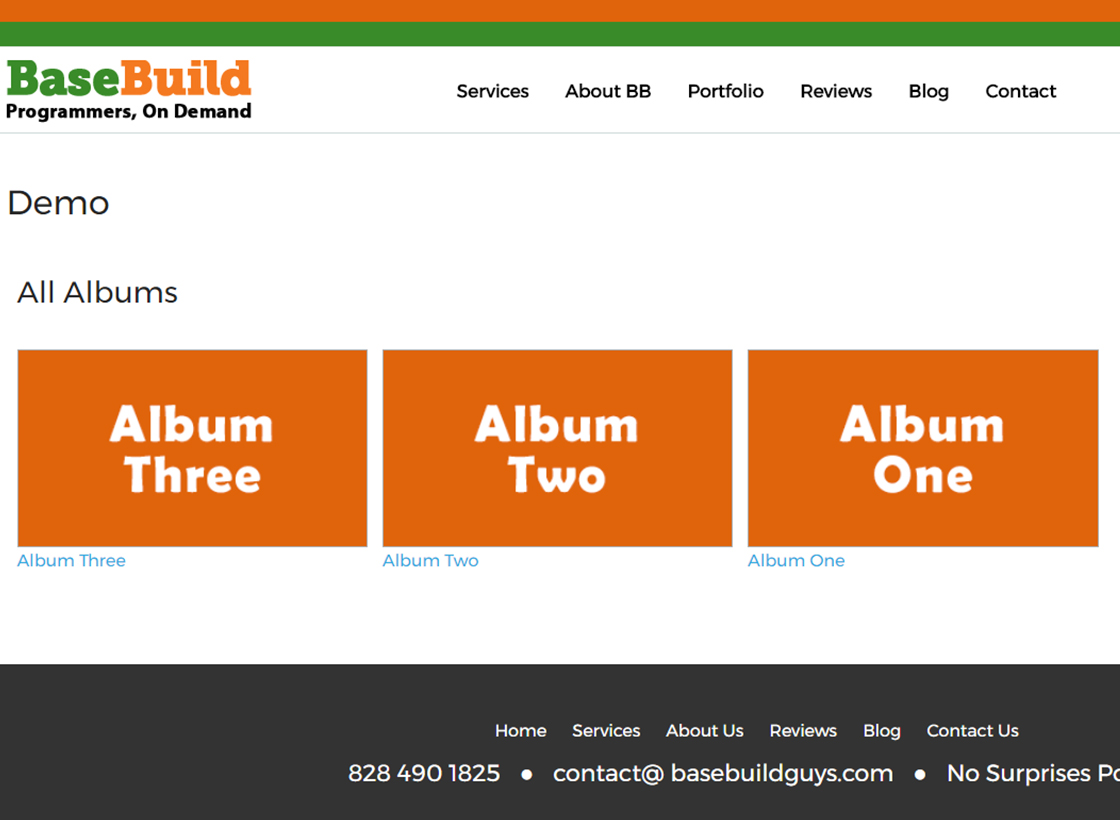 pThe albums page on our site at BaseBuildGuys.com. How it looks may differs on your theme style./p