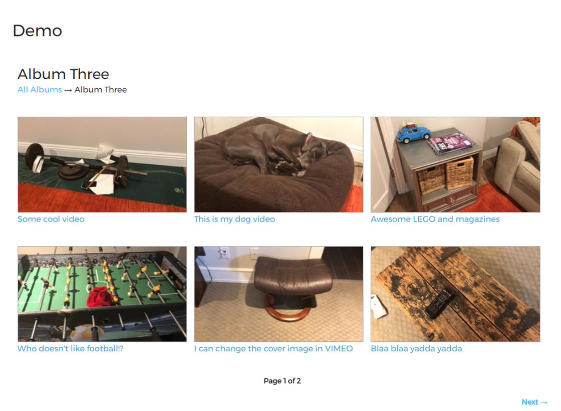 pThe album page showing videos. It shows 6 videos per page./p