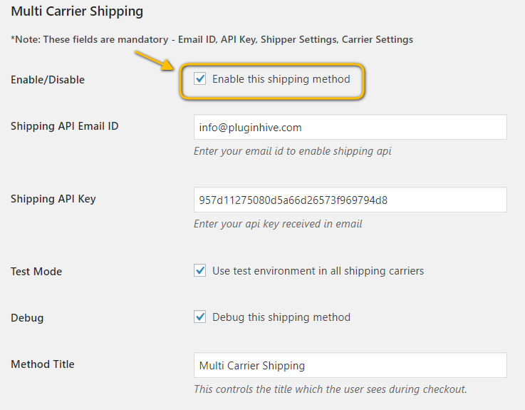 Multi Carrier Shipping Plugin's Settings Page