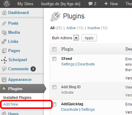Add New link to install new plugin on each blog