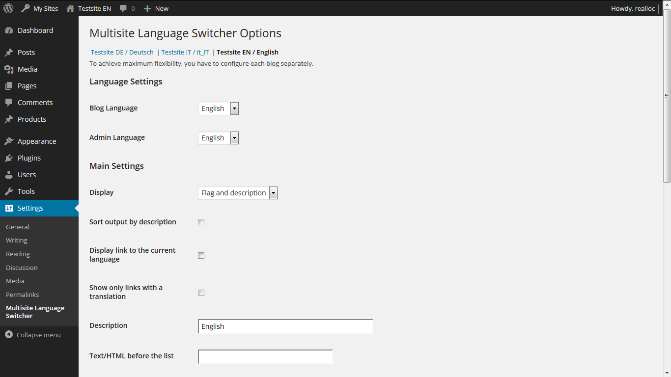 multisite-language-switcher screenshot 2