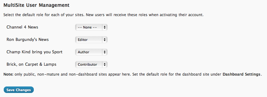 <strong>Network Admin Settings</strong> - Super admins can choose the default role for each site.