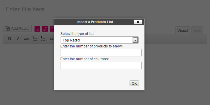 Products List Insertion Interface
