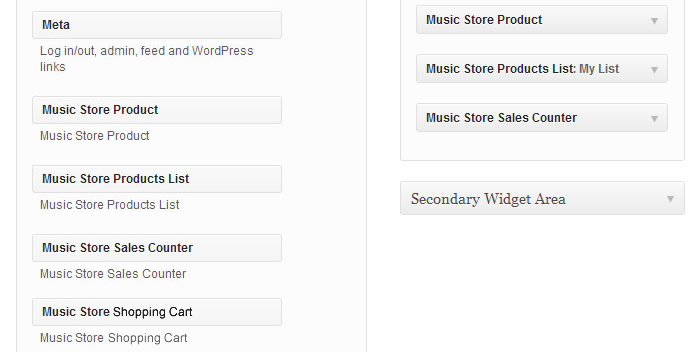 The Available Widgets for Insert the Products, Products List and Sales Counter in the Website's Sidebars