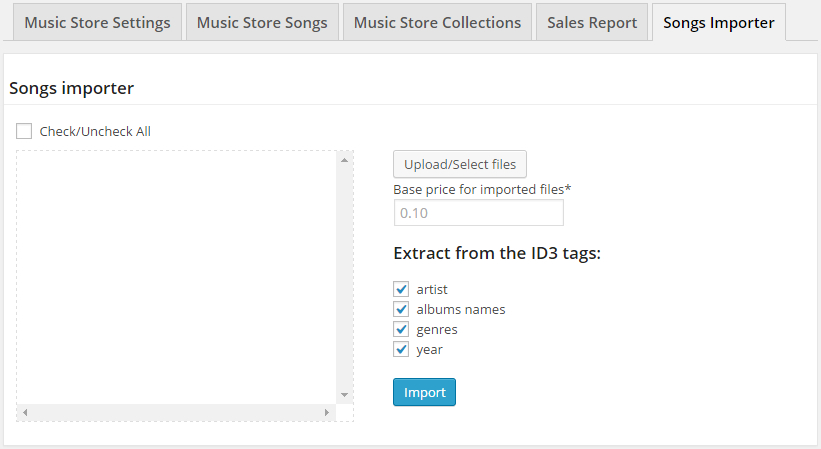 Songs Importer Section