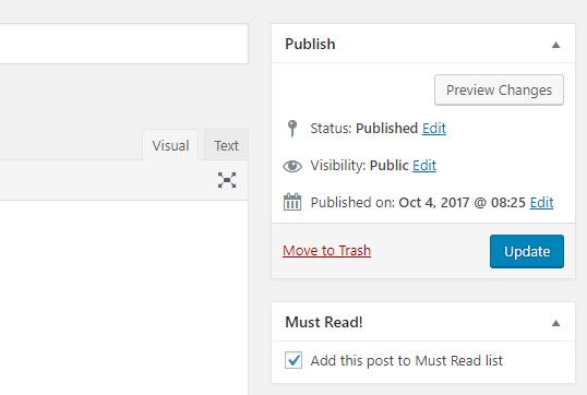 Must Read setting on post edit screen