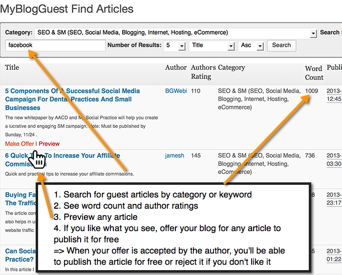 <p>Search for specific topics, see the number of words and author ratings, preview the first paragraphs and number of links, offer your blog to publish it for free!</p>