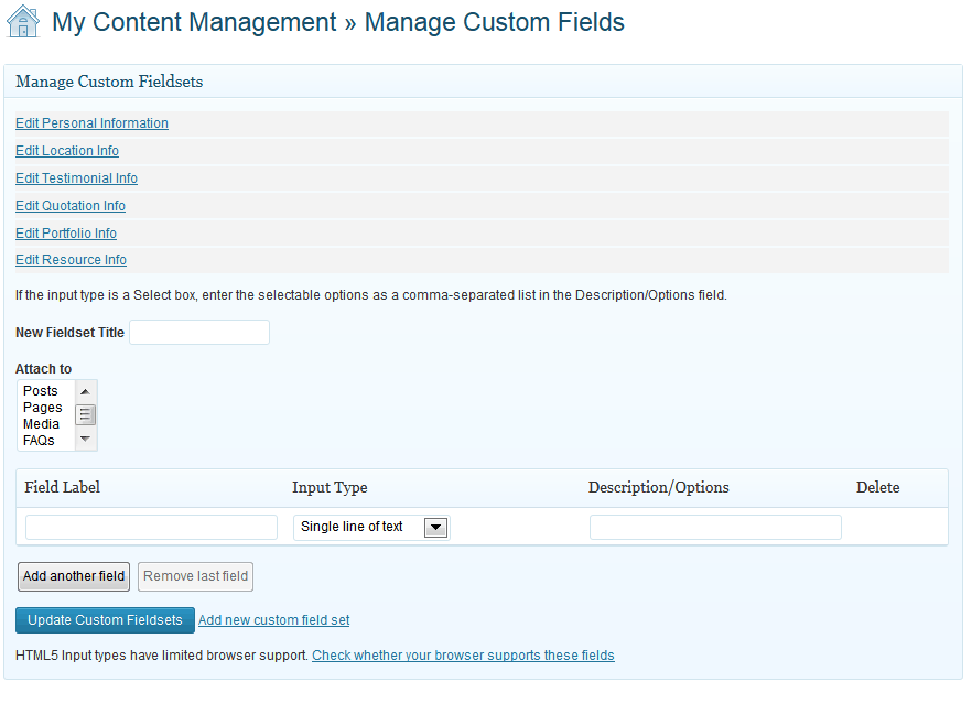Custom fields management