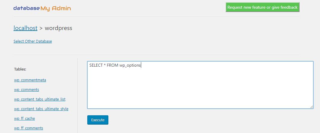 Execute SQL query