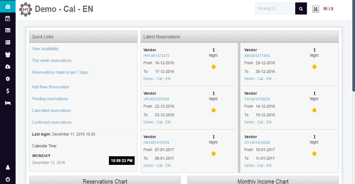 My Reservation System Dashboard