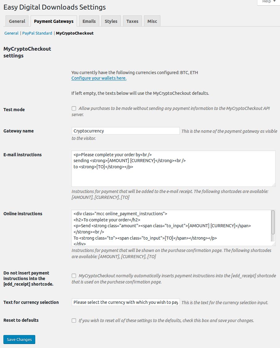 Payment info in EasyDigitalDownloads