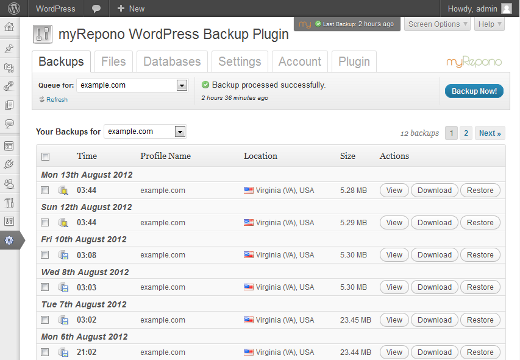 <p>Automate your WordPress, website & database backups using the myRepono remote website backup service.</p>