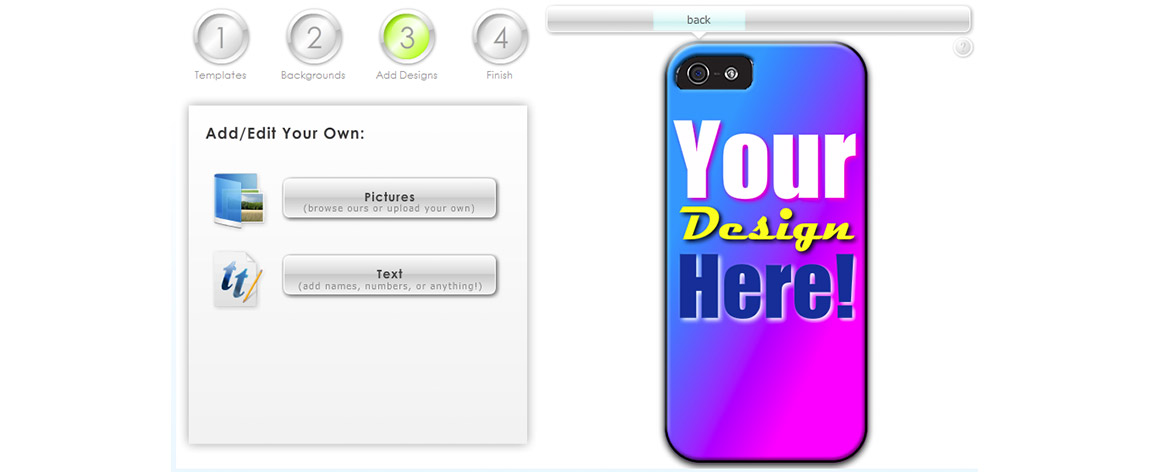 "Example of a phone case in the customizer with text added that says ""Your Design Here"" with different fonts, dropshadow colors, and a Blue-to-Pink gradient as the background"