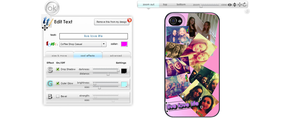 Example of someone who has uploaded a number of images into a phone case design and is adding some stylized text with glow and shadow