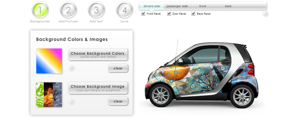 Example of a Smart Car with a background image applied