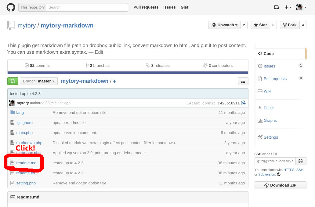 GitHub Usage 1: Create markdown file, and push it to github. So you can see it your github repository. Click it.