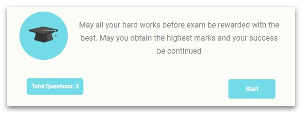 A message before starting quiz defined by admin