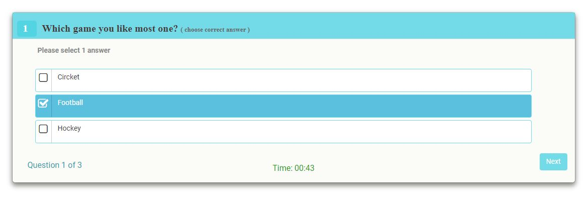 Quiz frontend view with multiple answers